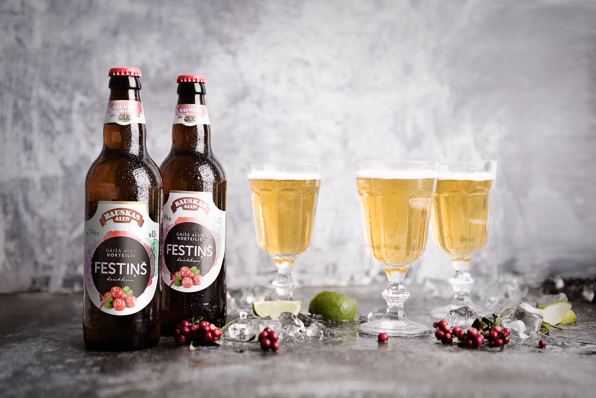 "Light beer coctail ""Festiņš"" lingonberry"